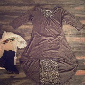 Brown high low dress with open lace back